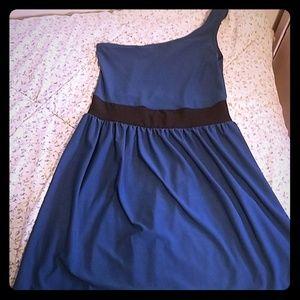 one shoulder dark blue/ turquoise dress.